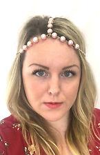 Blush Pink Gold Pearl Headpiece 1920s Headband Flapper Great Gatsby Vintage 813