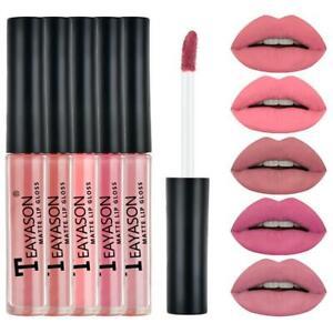 5pcs Liquid Lipstick Set Waterproof Lipgloss Makeup Tools Matte Velvet Lip Gloss