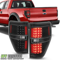 Black 2009-2014 Ford F150 F-150 LED Tail Lights Brake Lamps Left+Right 09-14