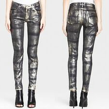 NWT Current Elliot The Ankle Skinny Fools Gold Coated Indigo Jeans Size 24 0