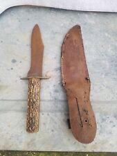 Vintage Jigged Bone Hunting Knife with Sheath by ZAK German Antique