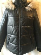 saks fifth avenue Black Faux Leather Faux Fur Trimmed Jacket Size L