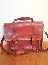 English Gentleman's Vintage Leather Tan Satchel Briefcase Messenger Bag