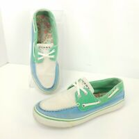 Sperry Top Sider Boat Shoes Slip On Comfort Blue Green White Womens Size 7 M