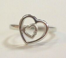 Sterling Silver Diamond Ring with Heart Motif