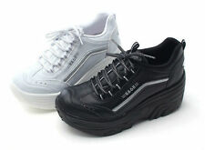 Womens Canvas Wedge Platforms Boots Cheerleaders High Heel 8cm Sneakers Shoes HA