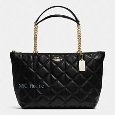 New Coach F36661 Ava Chain Tote In Quilted Leather Black NWT $495 MSRP