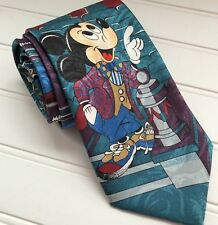 Disney Mickey Mouse Steamboat Willie Purple Teal Blue Neck Tie Mickey Unlimited