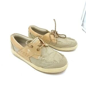 Margaritaville Antrillas Mens 8 Beige Canvas Leather Oxford Boat Shoes MG1353