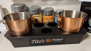 Tito's Handmade Vodka Copper Ice Buckets with Caddy