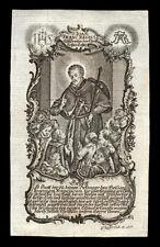 santino incisione 1700 S.GIOVANNI FRANCESCO REGIS  klauber