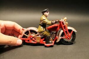 Antique Vintage Style Cast Iron Toy Motorcycle 1 Patrol Rider