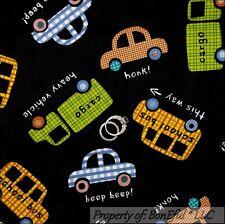 BonEful Fabric FQ Cotton Black White Baby Boy Decor Car Tow Truck School Bus B&W