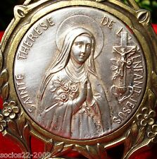 ANTIQUE FRENCH MINIATURE PORTRAIT WITH SAINTE THERESE MEDAL SIGNED