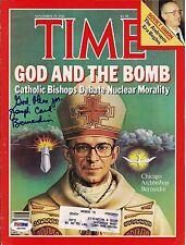 Joseph Cardinal Bernardin Archbishop Signed AUTOGRAPHED TIME MAG Photo PSA/DNA