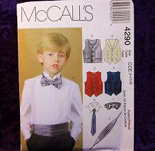 McCall's 4290 Boy's Dress Shirt, Bow & Neck Tie 4 Vests Cumberbund Pattern 3-6