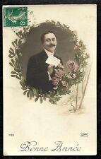 CPA COLORISEE BONNE ANNEE LILAS 7120 Janvier 1911