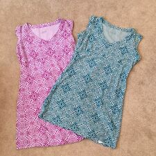Lot Of 2 COLUMBIA Mini Dresses Cotton Small Teal & Purple Summer Beach Lounge