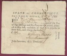 Connecticut Pay Table Document, Revolutionary War Officer, Feb. 2, 1782