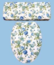 Blue Rose Green Waverly Inspirations Bathroom Decor Toilet Seat Lid Cover Set