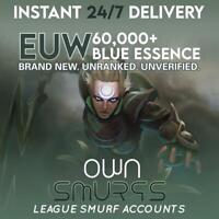[EUW 60K+]League of Legends Unranked Account EUW SMURF LoL 60,000 - 70,000 BE IP