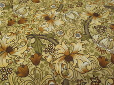 Sanderson Morris Golden Lily Sateen Curtain Fabric copy- Autumn Retro Brown 3mts