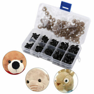 100Pcs/Box Toy Eyes with Gaskets 6-12mm Safety Eyes for Bear Doll Puppet Plush