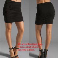 James Perse Cotton/ Modal Ruched Twist Skirt in Dark Blue Size: XS (0)