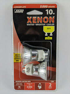 2 Bulb Pack - Feit Electric 10w Xenon Halogen Bulbs GU10 Base Bright Cool White