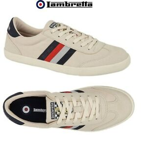 Lambretta MOD Trainers Ecru Canvas Mens Lace Up Cushioned Vulcan Shoes UK 7 - 12