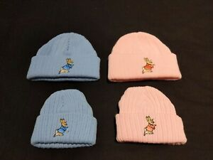 NEW BABY BOYS GIRLS KNITTED PETER RABBIT BEANIE HATS PINK,BLUE NEWBORN TO 3-6MTH