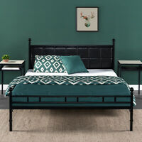 Zinus Sumit Metal Platform Bed with Faux Leather Upholstered Headboard