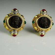 Natural Ruby Diamond Earrings Emerald Ancient Coin Jewelry Cabochon 18K Gold 80s