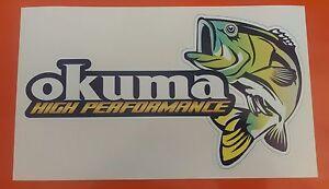 OKUMA BASS FISHING DECAL STICKER /TACKLEBOX/BOAT/KAYAK/CAR/VAN 220MM X 120MM