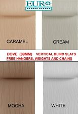 """DOVE Vertical Blind Replacement 89mm (3.5"""") Wide Slats / Louvres  4 Colours"""