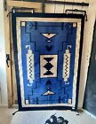 Vintage Blue Black White Large Wool Rug Hand Woven in India by Mayatex 4' x 6'