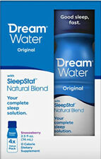 Dream Water Natural Sleep Aid GABA MELATONIN 5-HTP, 2.5oz Shot, Snoozeberry, 4ct