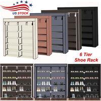 Dual Row 6 Tier Shoe Rack Stand Shelf Storage Closet Organizer Cabinet w/ Cover