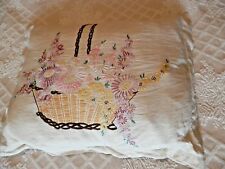 Vintage cushion hand stitch embroidery + feather pad, 63 by 50 cm