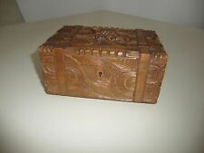 BLACK FOREST CARVED FRIENDSHIP BOX with EDELWEISS AND FOLIATE CARVING