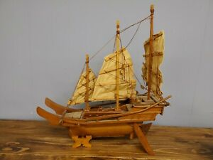 LARGE HAND CRAFTED VINTAGE WOOD MODEL SAILBOAT WITH 3 CLoth SAILS AND STAND