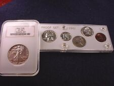1942 6 COIN PROOF SET WITH NGC CERTIFIED WALKING LIB HALF DOLLAR PROOF--66! #766