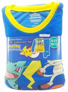 Pokemon Boys 2 Piece Flannel Sleepwear Pajama Set Size 6-16