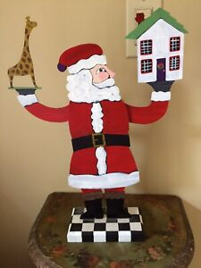 "NANCY THOMAS 16"" Folk Art Wooden Santa Claus , Signed, 2002 House Toy Décor"