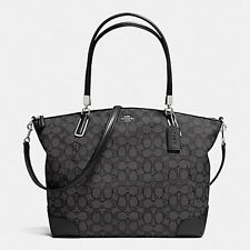 NWT $350 Coach Kelsey Satchel Signature Black Shoulder Bag Tote Crossbody NEW
