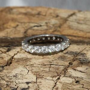 3mm Moissanite 925 Sterling Silver Full Eternity Band Ring Gift Boxed
