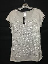 NWT FOREVER JADE Women's Casual Party Wear Top Fun Embellished Capped Sleeves