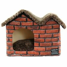 New Brick Pet Dog Cat House Beds Kennel Folded indoor House Tent Mat Removable