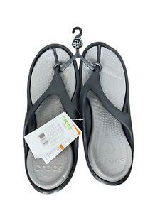 Crocs Athens Thong Flip Flops Comfort Sandals Black & Smoke Gray Mens 12 New