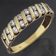 Channel set  Solid 9k Yellow GOLD 18 Cubic Zirconia ETERNITY RING Mid Sz N1/2